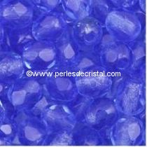 50 BOHEMIAN GLASS FIRE POLISHED FACETED ROUND BEADS 4MM SAPPHIRE