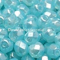 50 BOHEMIAN GLASS FIRE POLISHED FACETED ROUND BEADS 4MM COLOURS AQUAMARINE LUSTER 60010/14400