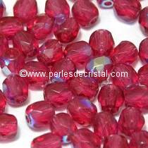 50 BOHEMIAN GLASS FIRE POLISHED FACETED ROUND BEADS 4MM FUCHSIA AB 70350/28701