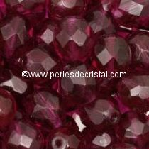 50 BOHEMIAN GLASS FIRE POLISHED FACETED ROUND BEADS 4MM FUCHSIA 70350