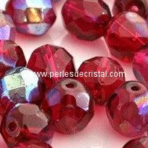 25 BOHEMIAN GLASS FIRE POLISHED FACETED ROUND BEADS 6MM COLOURS FUCHSIA AB 70350/28701