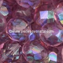 20 BOHEMIAN GLASS FIRE POLISHED FACETED ROUND BEADS 8MM COLOURS LIGHT AMETHYST AB 20020/28701