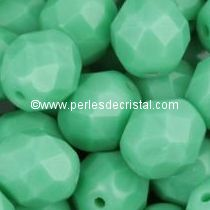 20 BOHEMIAN GLASS FIRE POLISHED FACETED ROUND BEADS 8MM COLOURS OPAQUE GREEN TURQUOISE 63130