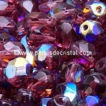 20 BOHEMIAN GLASS FIRE POLISHED FACETED ROUND BEADS 8MM COLOURS AMETHYST AB 20060/28701