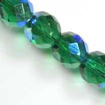20 BOHEMIAN GLASS FIRE POLISHED FACETED ROUND BEADS 8MM COLOURS EMERALD AB 50730/28701