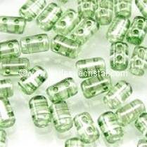 10GR RULLA 3X5MM EN VERRE COLORIS CRYSTAL GREEN LUSTER 00030/14457