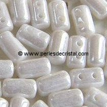 10GR RULLA 3X5MM EN VERRE COLORIS OPAQUE WHITE CERAMIC LOOK - CHALKWHITE