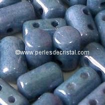 10GR RULLA 3X5MM EN VERRE COLORIS OPAQUE BLUE CERAMIC LOOK