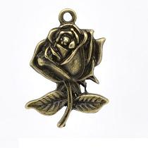 BRELOQUE CHARMS FLEUR ROSE EN BRONZE