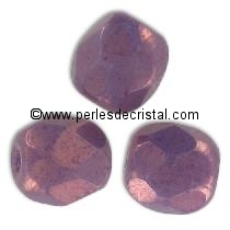 50 BOHEMIAN GLASS FIRE POLISHED FACETED ROUND BEADS 4MM COLOURS OPAQUE MIX AMETHYST/GOLD CERAMIC LOOK / LUSTER 03000/15726