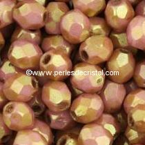 25 BOHEMIAN GLASS FIRE POLISHED FACETED ROUND BEADS 6MM COLOURS OPAQUE PINK CERAMIC LOOK - LUSTER 03000/14495