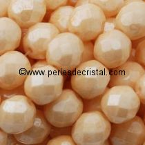 25 BOHEMIAN GLASS FIRE POLISHED FACETED ROUND BEADS 6MM COLOURS OPAQUE BEIGE CERAMIC LOOK - LUSTER 03000/14413