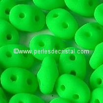 10GR SUPERDUO 2.5X5MM GLASS COLOURS GREEN NEON MAT