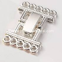Clasp clips, 5 rows SILVER SILVER 24X16MM