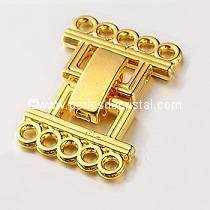 Clasp clips, 5 rows GOLD 24X16MM
