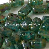 10GR RULLA 3X5MM EN VERRE COLORIS AQUAMARINE TRAVERTIN DARK