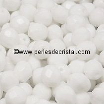50 BOHEMIAN GLASS FIRE POLISHED FACETED ROUND BEADS 2MM COLOURS OPAQUE WHITE 03000 CHALKWHITE