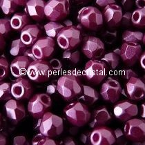 50 BOHEMIAN GLASS FIRE POLISHED FACETED ROUND BEADS 4MM COLOURS PASTEL BORDEAUX 02010/25032