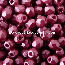 50 BOHEMIAN GLASS FIRE POLISHED FACETED ROUND BEADS 4MM COLOURS PASTEL BURGUNDY 02010/25031