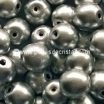 50 SMOOTH ROUND BEADS 4MM SILVER ALUMINIUM MATTED 00030/01700