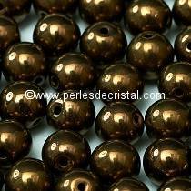 50 PERLES RONDES LISSES 4MM DARK BRONZE 23980/14415 JET BRONZE