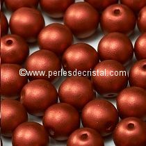 50 SMOOTH ROUND BEADS 4MM BRONZE RED MATTED 00030/01750