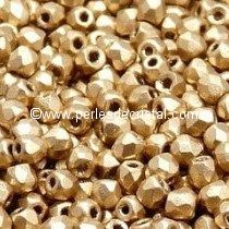 25 BOHEMIAN GLASS FIRE POLISHED FACETED ROUND BEADS 6MM COLOURS LIGHT GOLD MAT - AZTEC