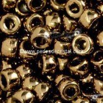 10GR ROCAILLE MATUBO 8/0 - 3MM  COULEUR GOLD BRONZE 24 CARATS 23980/90215