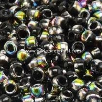 10GR MATUBO Czech Glass Seed Beads 8/0 (3mm)- COLOURS JET VITRAIL - BLACK 23980/28101