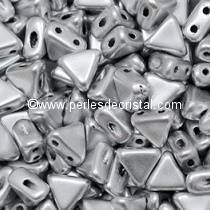 10GR KHEOPS® BY PUCA® BEADS 6MM - TRIANGLE GLASS COLOURS SILVER ALUMINIUM MAT
