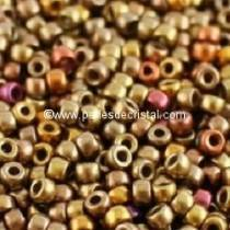10GR ROCAILLE MATUBO 7/0 - 3.5MM COULEUR CRYSTAL GOLD RAINBOW  / DORE / OR / MAT - 00030/01610