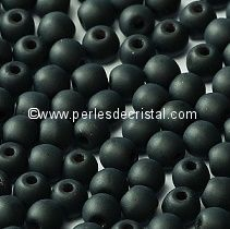 LOT 1200 PERLES RONDES LISSES 4MM JET MAT - NOIR
