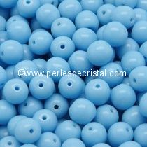 LOT 1200 PERLES RONDES LISSES 4MM OPAQUE BLUE TURQUOISE 63030