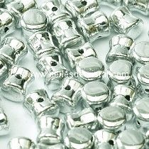 50 PELLETS / DIABOLO 4X6MM GLASS COLOURS CRYSTAL LABRADOR FULL - SILVER 00030/27000