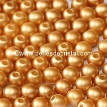 50 SMOOTH ROUND BEADS 4MM PASTEL AMBER - 02010/25001