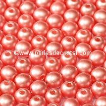50 PERLES RONDES LISSES 4MM PASTEL LIGHT CORAL - 02010/25007