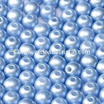 50 SMOOTH ROUND BEADS 4MM PASTEL LIGHT SAPPHIRE / BLUE - 02010/25014