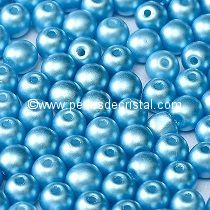 50 SMOOTH ROUND BEADS 4MM PASTEL TURQUOISE / BLUE - 02010/25020