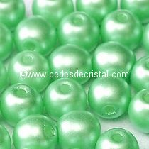 50 PERLES RONDES LISSES 4MM PASTEL LIGHT GREEN / CHRYSOLITE / VERT - 02010/25025