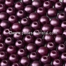 50 PERLES RONDES LISSES 4MM PASTEL BORDEAUX - 02010/25032