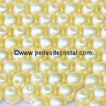 50 PERLES RONDES LISSES 4MM PASTEL LIGHT CREAM / BEIGE CLAIR - 02010/25110