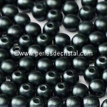 50 PERLES RONDES LISSES 4MM PASTEL DARK GREY HEMATITE / GRIS-NOIR - 02010/25037