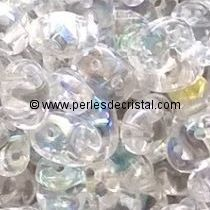 10GR SUPERDUO 2.5X5MM EN VERRE COLORIS CRYSTAL AB 00030/28701