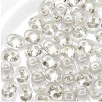 10GR SUPERDUO 2.5X5MM EN VERRE COLORIS CRYSTAL SILVER LINED 00030/81800