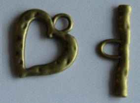 Fermoir toggle coeur 27x24 mm + barre 30 mm - BRONZE