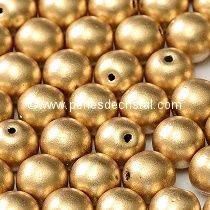 25 PERLES RONDES LISSES 6MM LIGHT GOLD MAT - 01710 - DORE - OR