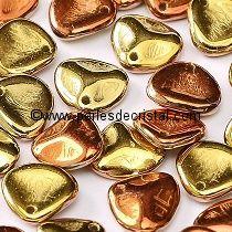 50 ROSE PETALS 8X7MM EN VERRE COLORIS CALIFORNIA GOLDEN RUSH - 23980/98542