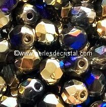 50 BOHEMIAN GLASS FIRE POLISHED FACETED ROUND BEADS 4MM CALIFORNIA BLUE - 00030/98548