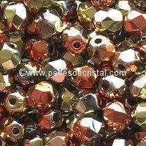 50 BOHEMIAN GLASS FIRE POLISHED FACETED ROUND BEADS 4MM CALIFORNIA GOLDEN RUSH - 00030/98542