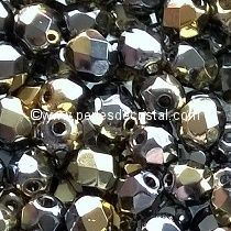50 BOHEMIAN GLASS FIRE POLISHED FACETED ROUND BEADS 4MM CALIFORNIA GRAPHITE - 00030/98547